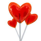 Heart shaped red lollipops Stock Photography