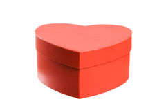 Heart shaped red present box. Royalty Free Stock Image