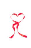 Heart shaped red ribbon Stock Photo