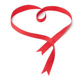 Heart shaped red ribbon Stock Photography
