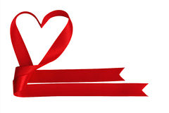 Heart shaped red ribbon Royalty Free Stock Images
