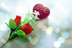 Heart shaped and red roses. Stock Photo