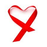 Heart-shaped red satin ribbon Stock Photo