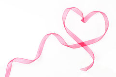 Heart shaped ribbon with copy space. Stock Photos