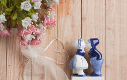Heart shaped  ribbon and romantic doll Stock Image