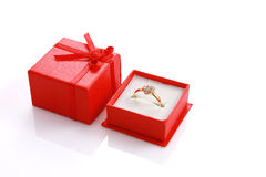 Heart shaped ring in red gift box Stock Photography