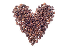 Heart shaped roasted coffee beans Royalty Free Stock Photos