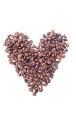 Heart shaped roasted coffee beans Stock Image