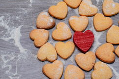 Heart-shaped romantic cookies as a treat Royalty Free Stock Photography