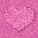 Heart-shaped rose bouquet in soft pink colors Royalty Free Stock Photography