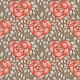 Heart shaped rose and gold leaves. Vector seamless background Stock Photography