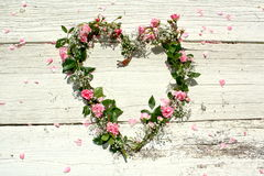 Heart-shaped rose wreath Stock Images