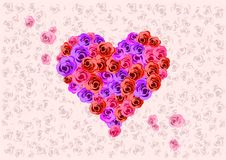 Heart Shaped Roses Royalty Free Stock Photos