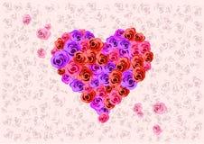 Heart Shaped Roses stock illustration