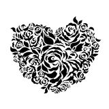 heart shaped roses petals silhouette Stock Photos