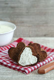 Heart shaped rye toasts with cream cheese Royalty Free Stock Image