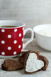 Heart shaped rye toasts with cream cheese Stock Images