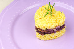 Heart shaped saffron rice with trevisano chicory Stock Photography