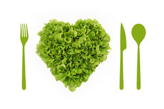 Heart-shaped salad, lgreen ettuce Stock Image