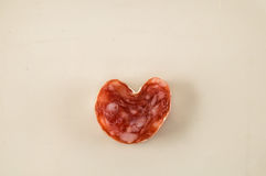 Heart Shaped Salami Royalty Free Stock Images