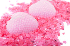 Heart shaped scented candles close-up Stock Photography