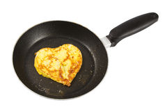 Heart shaped scrambled eggs Stock Photo