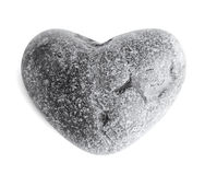 Heart-shaped sea stone (pebble) on white Royalty Free Stock Photo
