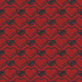 Heart shaped seamless pattern. Vector illustration. Stock Photography