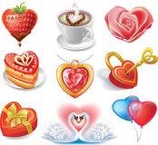 Heart-shaped set. Fun vector set of different heart shapes Stock Photo