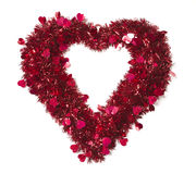 Heart Shaped Shiny Tinsel with Small Hearts Royalty Free Stock Image