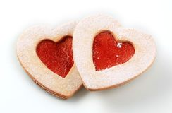 Heart shaped shortbread cookies Royalty Free Stock Images