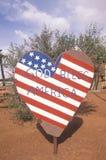 Heart-Shaped Sign Reading �God Bless America,� Monument Valley, Utah Stock Photo