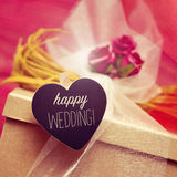 Heart-shaped signboard with the text happy wedding Royalty Free Stock Photo