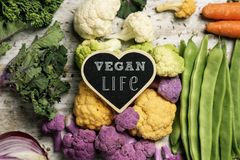 Raw vegetables and text vegan life Royalty Free Stock Photos
