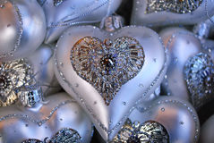 Heart Shaped Silver Ornaments Stock Photography