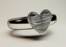 Heart shaped silver ring Stock Images