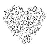 Heart shaped simple numbers. Royalty Free Stock Photography