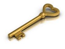 Heart Shaped Skeleton Key. Beautiful golden skeleton key on white reflective surface stock illustration