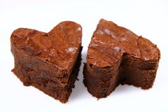 Heart shaped slices of a brownie Royalty Free Stock Photo