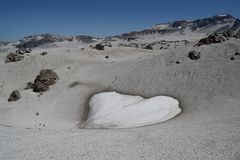 Heart shaped snowfield in the mountains stock image