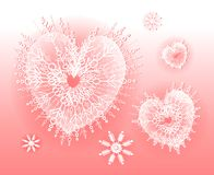 Heart Shaped Snowflakes Pink Royalty Free Stock Images