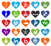 Heart shaped social media, web and business icons Royalty Free Stock Images