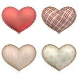 Heart-shaped soft toy set isolated. EPS 10 Royalty Free Stock Image