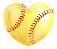 Heart Shaped Softball. A heart shaped yellow softball ball concept for a love of the game of softball vector illustration