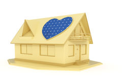 Heart shaped solar panel on house Stock Photos