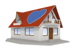 Heart shaped solar panel on house 2 Royalty Free Stock Photography