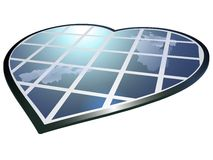 Heart shaped solar panel Royalty Free Stock Images