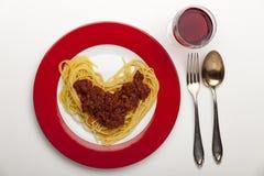 Heart shaped spaghetti Royalty Free Stock Photos