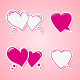 Heart shaped speech bubbles set Royalty Free Stock Photo