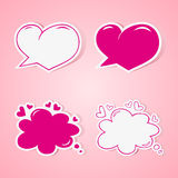 Heart shaped speech bubbles set Stock Photography
